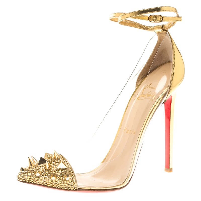 5951b0b83d2 Christian Louboutin Gold Spike Embellished Metallic Leather and PVC Just  Picks Ankle Strap Sandals Size 38.5