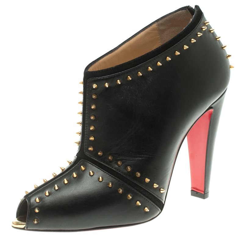 cheap for discount be9aa 88ea4 Christian Louboutin Black Spiked Leather Carapachoc Peep Toe Ankle Boots  Size 38