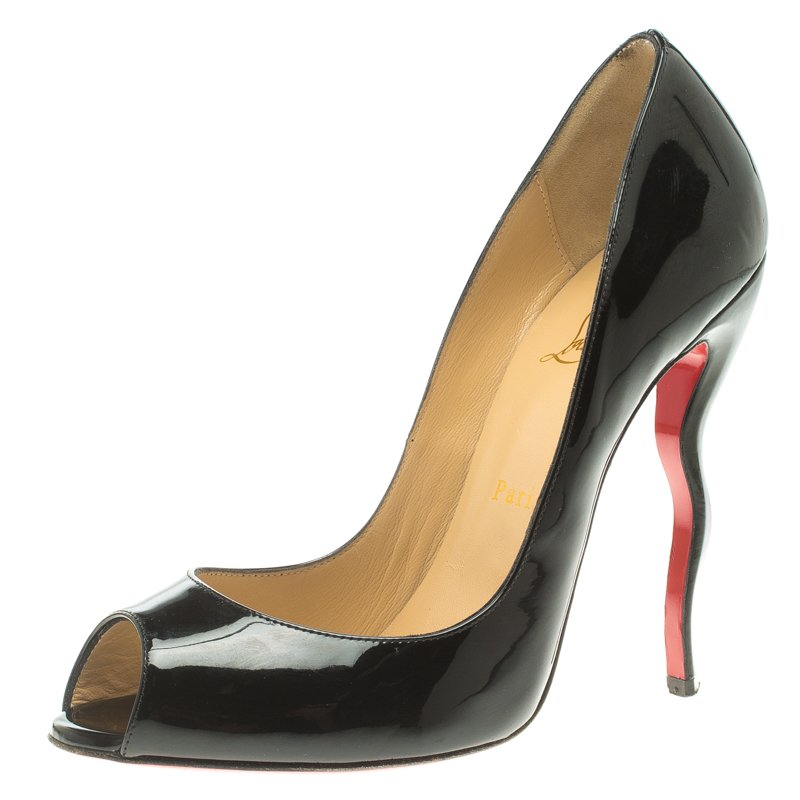 reputable site 5935b 2a094 Christian Louboutin Black Patent Leather Jolly Wavy Heel Peep Toe Pumps  Size 39