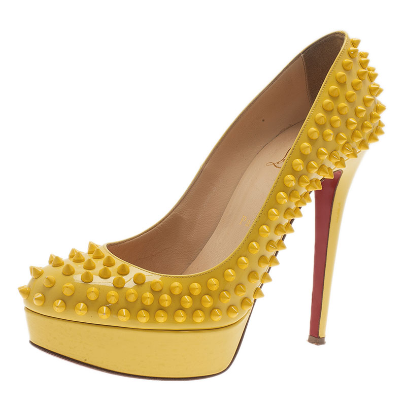 2248d566760 Christian Louboutin Yellow Patent Leather Bianca Spiked Platform Pumps Size  38.5