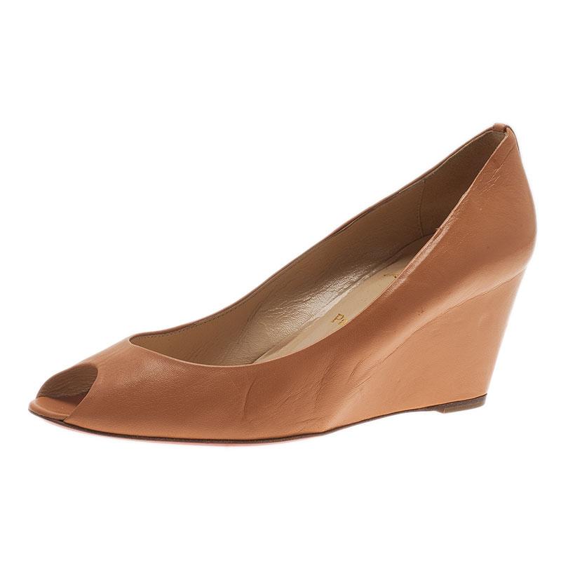 1f5638ec5e ... Christian Louboutin Orange Leather Materna Peep Toe Wedges Size 39.  nextprev. prevnext