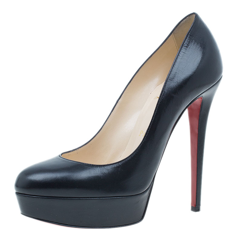 f73e5fd11c99 ... Christian Louboutin Black Leather Bianca Platform Pumps Size 38.  nextprev. prevnext