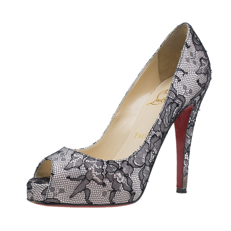6d28c4efa5d Christian Louboutin Black Lace and Satin Very Prive Peep Toe Pumps Size 36