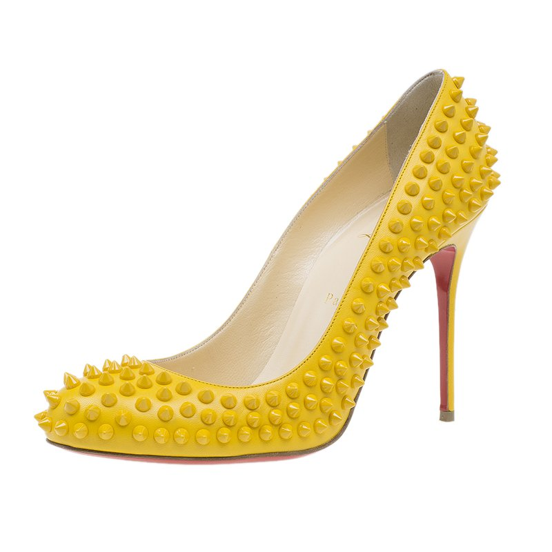 Buy Christian Louboutin Yellow Patent Fifi Spike Pumps Size 40.5 ... c39773952