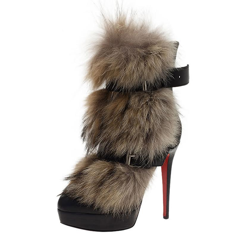 new style 93e50 91c17 Christian Louboutin Black Leather Toundra Coyote Fur Trimmed Ankle Boots  Size 40.5