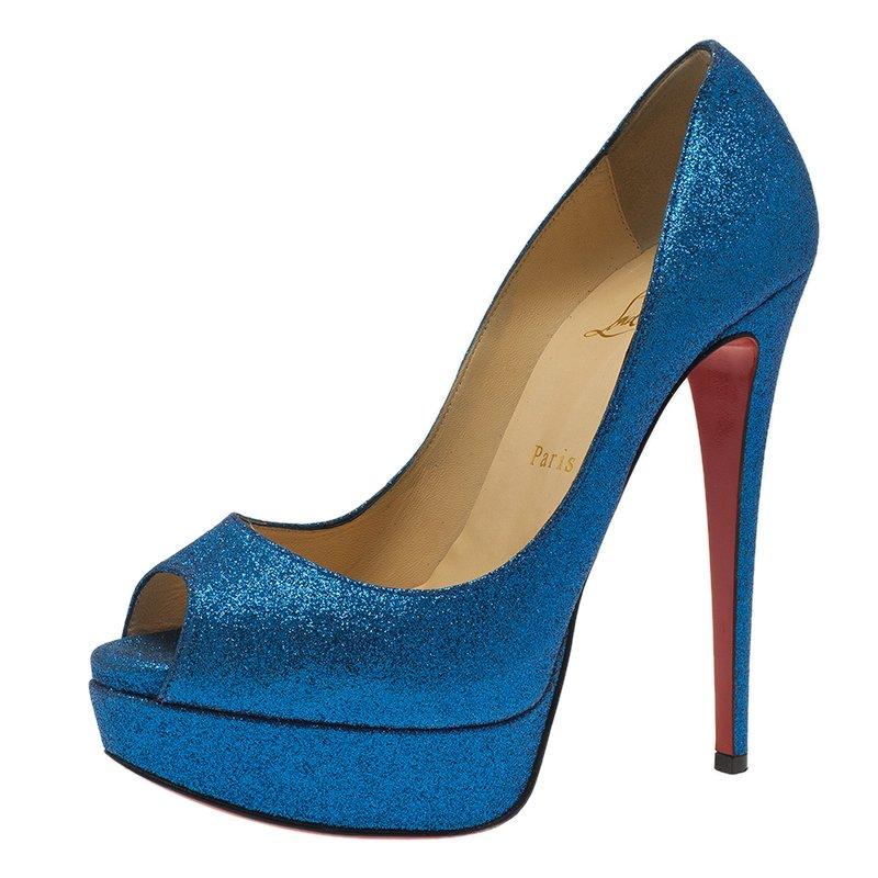 Christian Louboutin Blue Glitter Mini