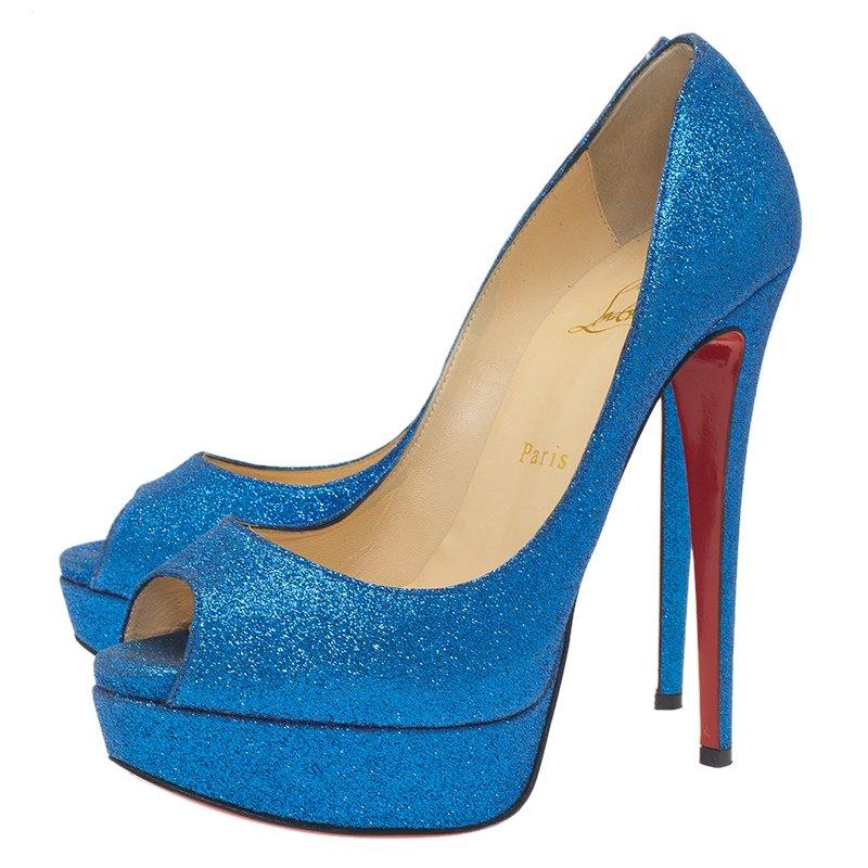 big sale 3b6e0 626ae Christian Louboutin Blue Glitter Mini Lady Peep 150 Pumps Size 38
