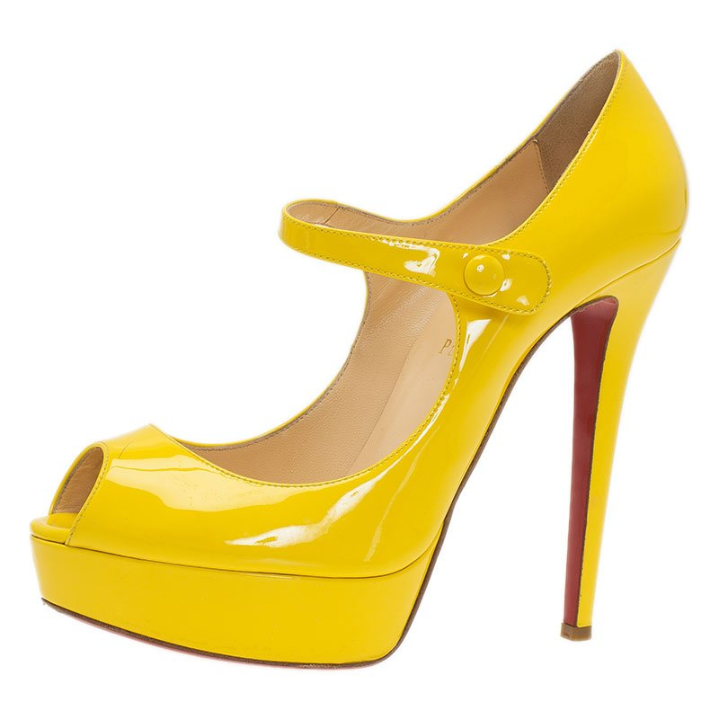 on sale cea58 249dd Christian Louboutin Yellow Patent Iowa Zeppa Peep Toe Mary Jane Pumps Size  40