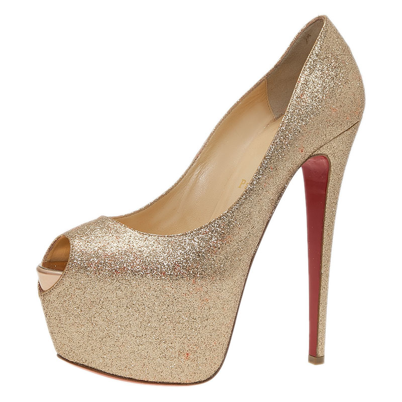 7b7c0e037d0 ... Christian Louboutin Gold Glitter Lady Peep Pumps Size 39.5. nextprev.  prevnext