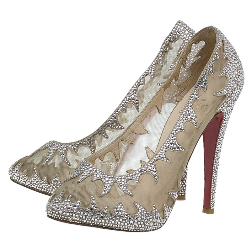 official photos 5c406 bc43d Christian Louboutin Silver Marlena Lili Marlene Strass Mesh Pumps Size 39