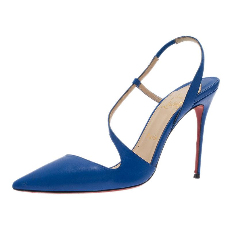 Christian Louboutin Blue Leather June Slingback Sandals Size 40