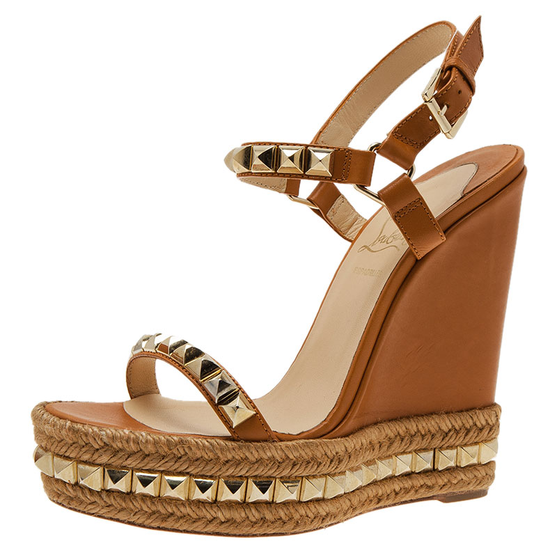 52c55442e0d Christian Louboutin Beige Studded Leather Cataclou Espadrille Wedge Sandals  Size 39