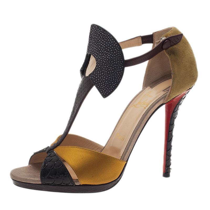 Christian Louboutin Python and Stingray Aztec Sandals Size 39