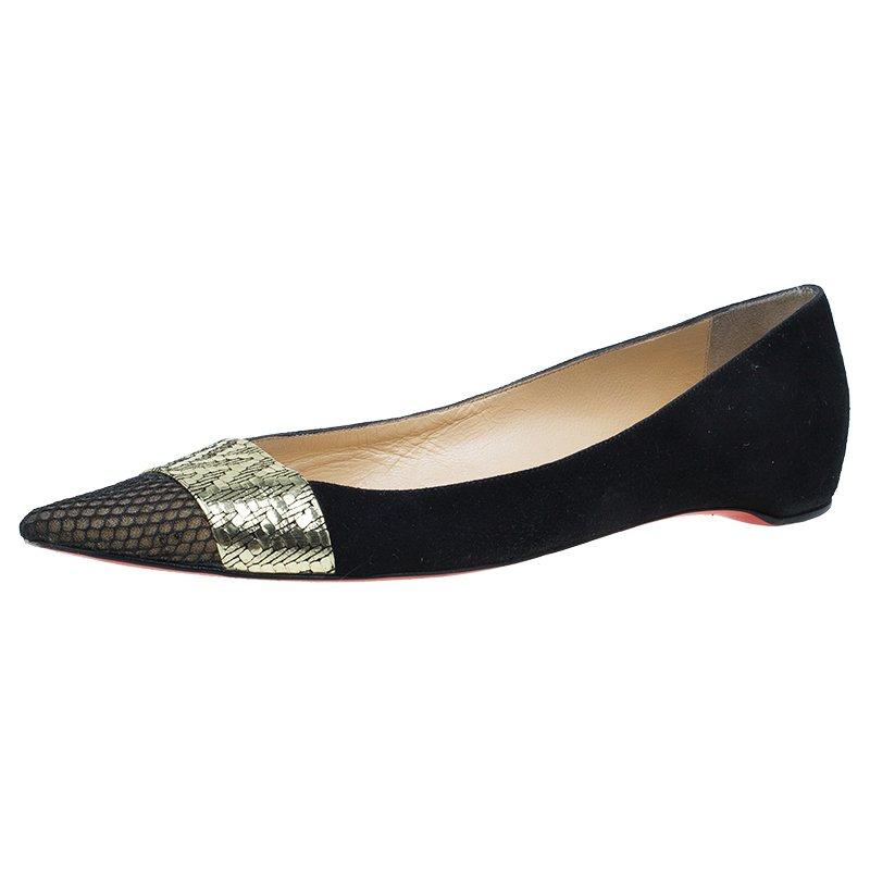 478641abaa1 ... Christian Louboutin Black   Gold Suede Gladiator Ballet Flats Size 39.  nextprev. prevnext
