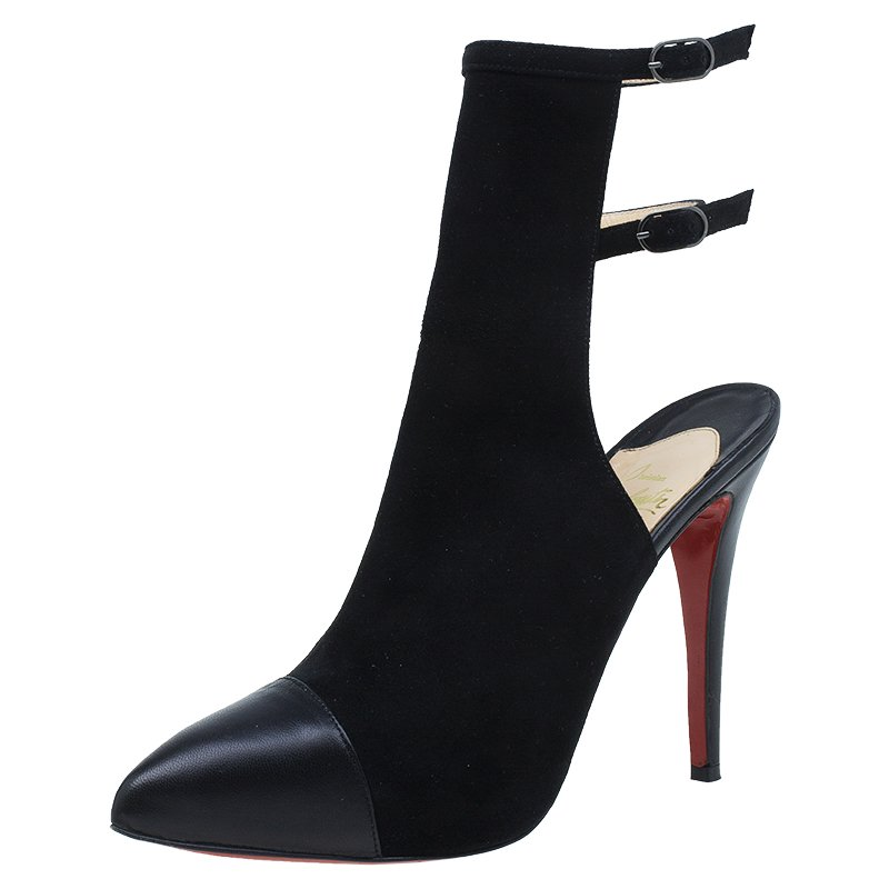 Christian Louboutin Black Suede Double Strap Back Cap Toe Booties Size 39 5