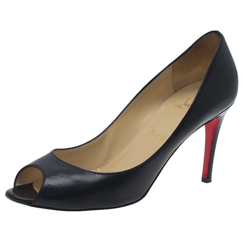bec955f15ff6 ... Christian Louboutin Black Leather You You Peep Toe Pumps Size 39.  nextprev. prevnext