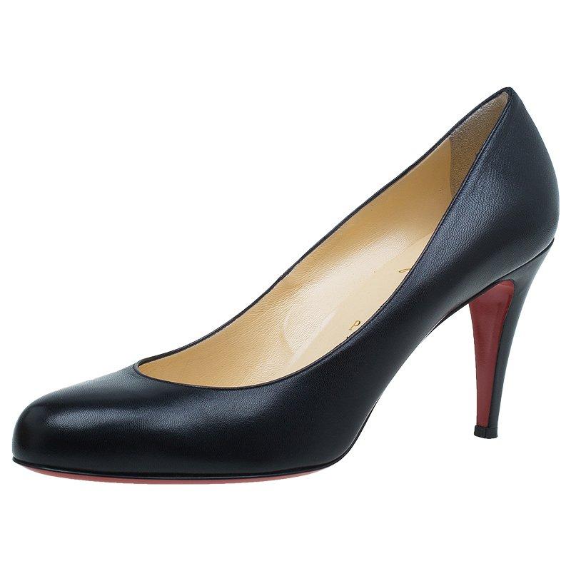 Nouveaux produits b12f2 f0ff3 Christian Louboutin Black Leather Ron Ron Pumps Size 41.5