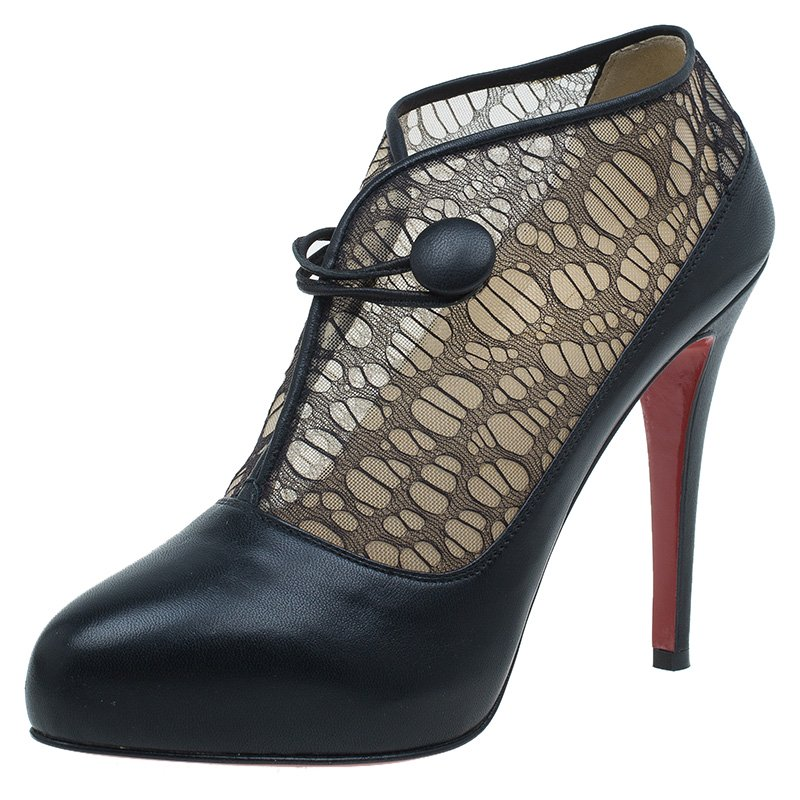 a38717f6b710 ... Christian Louboutin Black Leather and Lace Clic Clac Ankle Boots Size  38. nextprev. prevnext