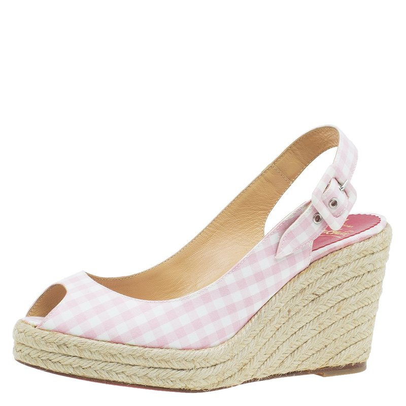 check out b3ffc a7b16 Christian Louboutin Pink Canvas Menorca Gingham Espadrille Wedge Sandals  Size 36