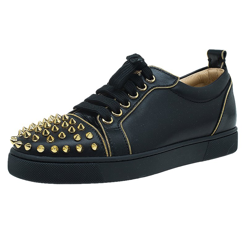 quality design c5d85 592a1 Christian Louboutin Black Leather Rush Spike Sneakers Size 36