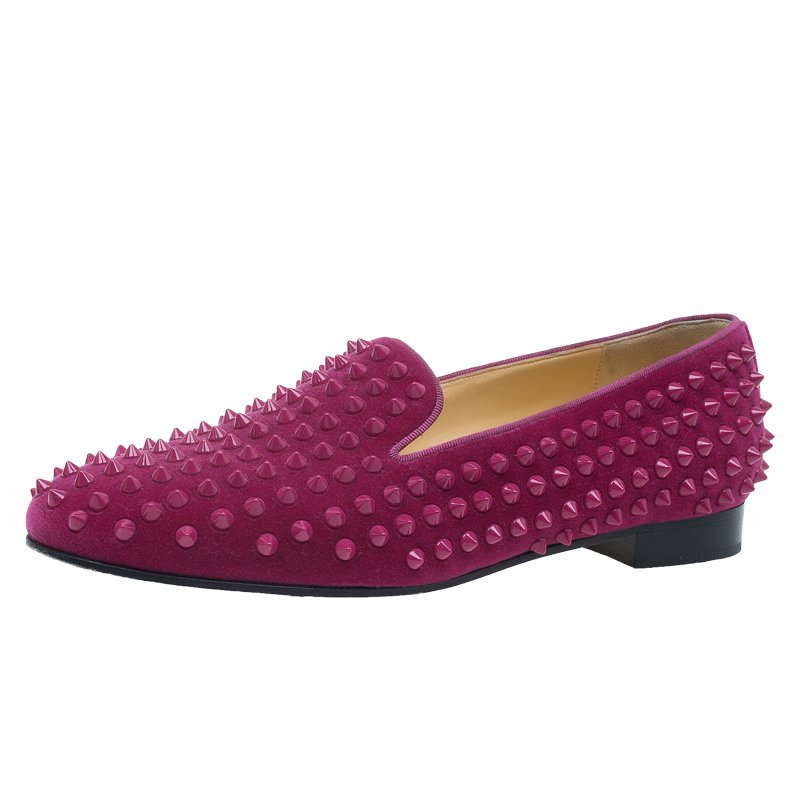 bd62e6c212a Christian Louboutin Hot Pink Velvet Rollerboy Spike Loafers Size 39