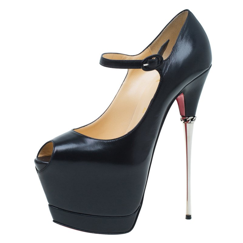 huge selection of 7d09d 09808 Christian Louboutin Black Leather Printz Metallic Heel Peep Toe Platform  Pumps Size 39
