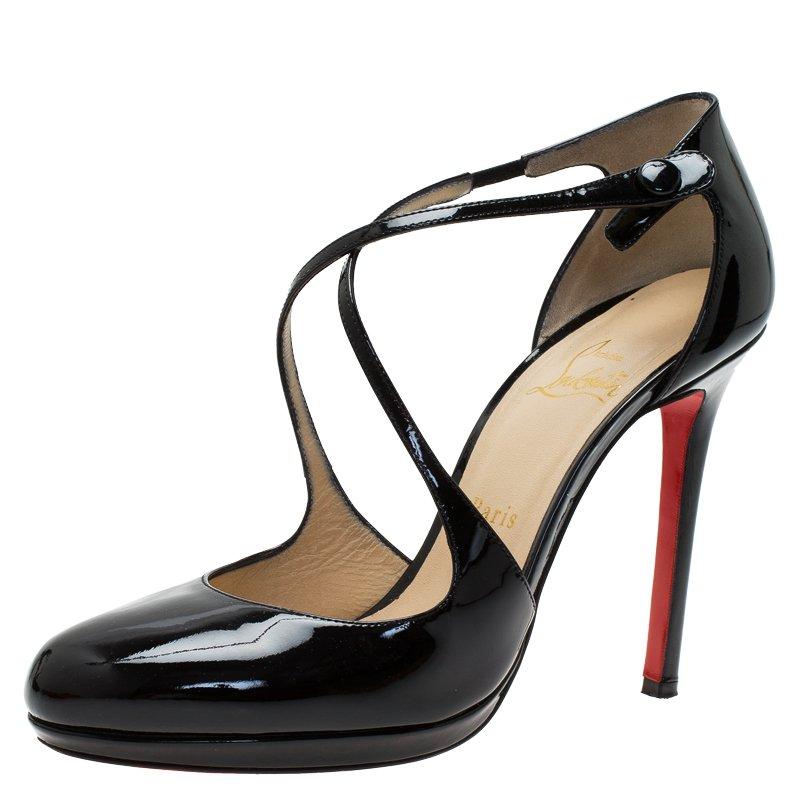 440a9a5fe ... Christian Louboutin Black Patent Crosspiga Almond Toe Platform Pumps  Size 39. nextprev. prevnext