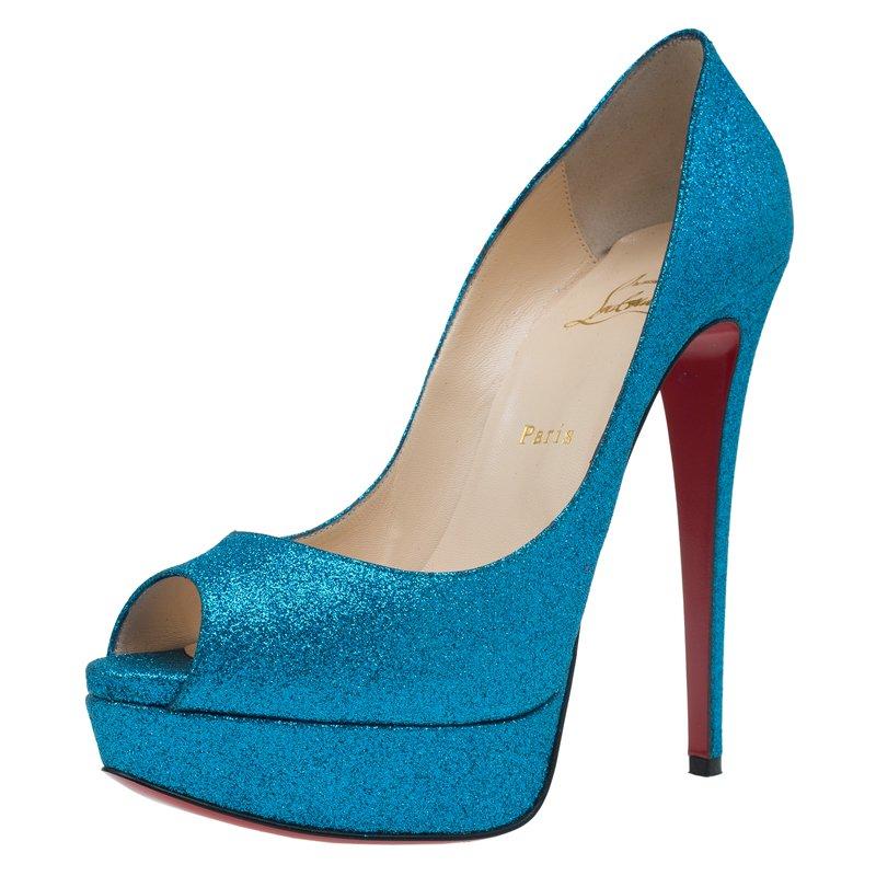 7388ede7ab1 Christian Louboutin Blue Glitter Lady Peep Toe Platform Pumps Size 39.5