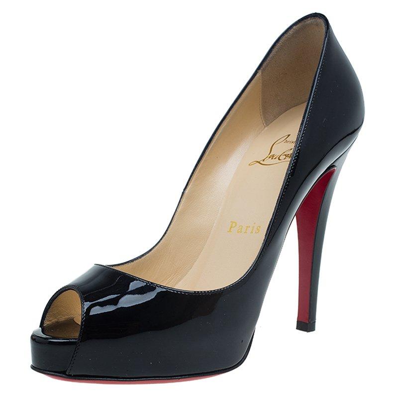 b560e70d632f ... Christian Louboutin Black Patent Very Prive Platform Peep Toe Pumps  Size 35.5. nextprev. prevnext
