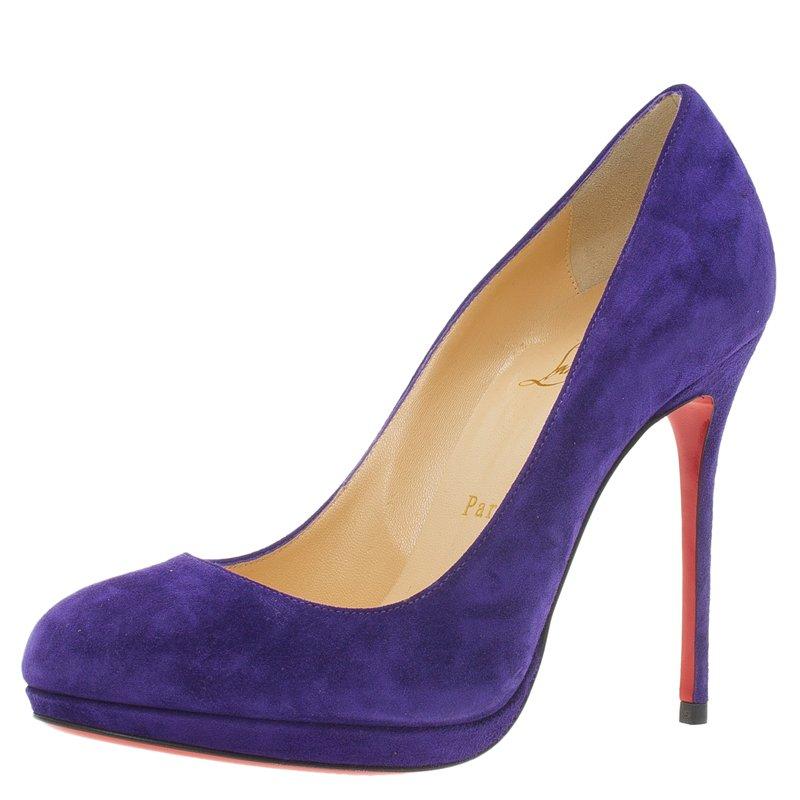 Buy Christian Louboutin Purple Suede Neofilo Pumps Size 37.5 56409 ... 3233a6fe1