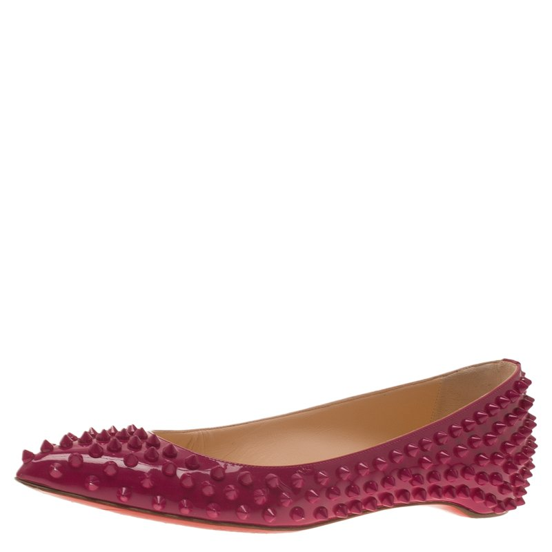 ffb6636a71eb ... Christian Louboutin Pink Patent Spike Pigalle Ballet Flats Size 37.5.  nextprev. prevnext