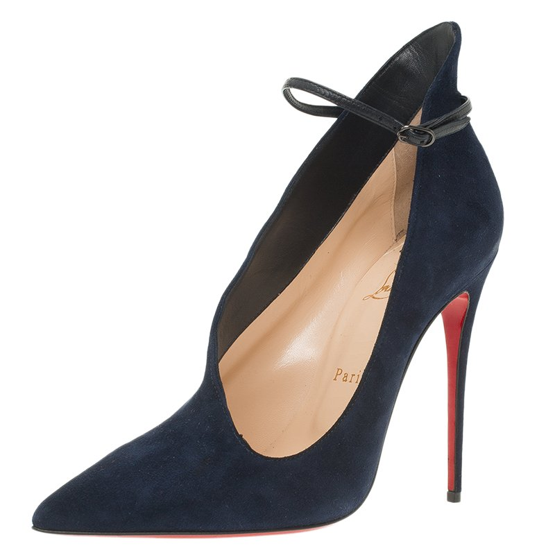 huge selection of a78b1 609bd Christian Louboutin Navy Blue Suede Vampydolly Pumps Size 37.5