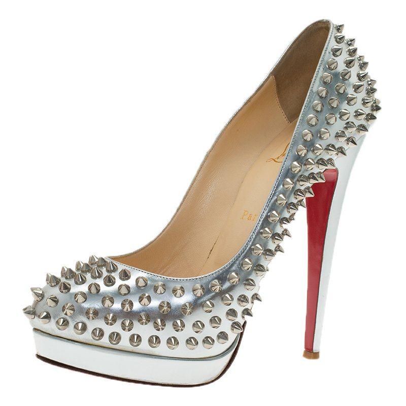 new style 1dd31 59dd8 Christian Louboutin Silver Metallic Leather Alti Spike Platform Pumps Size  39.5