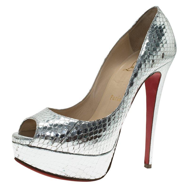 9893eadcb61d Buy Christian Louboutin Silver Watersnake Lady Peep Ayers Laminato ...