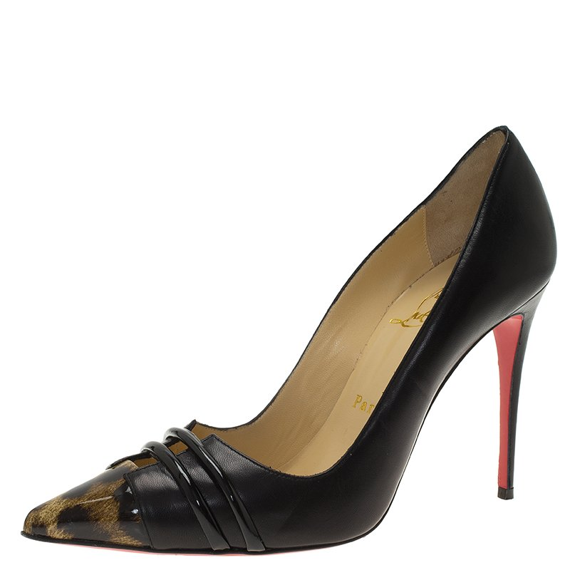 f3bce861c62 Christian Louboutin Black Leather and Leopard Print Front Double Pumps Size  38