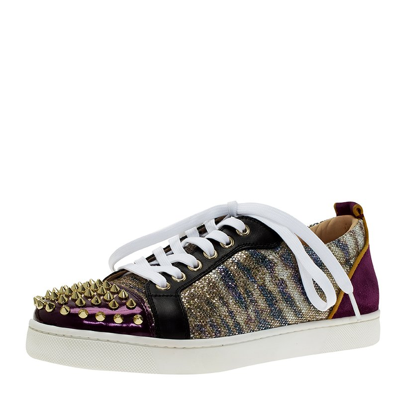 new concept 7b3c3 3de77 Christian Louboutin Purple Metallic Leather Spiked Louis Junior Sneakers  Size 39