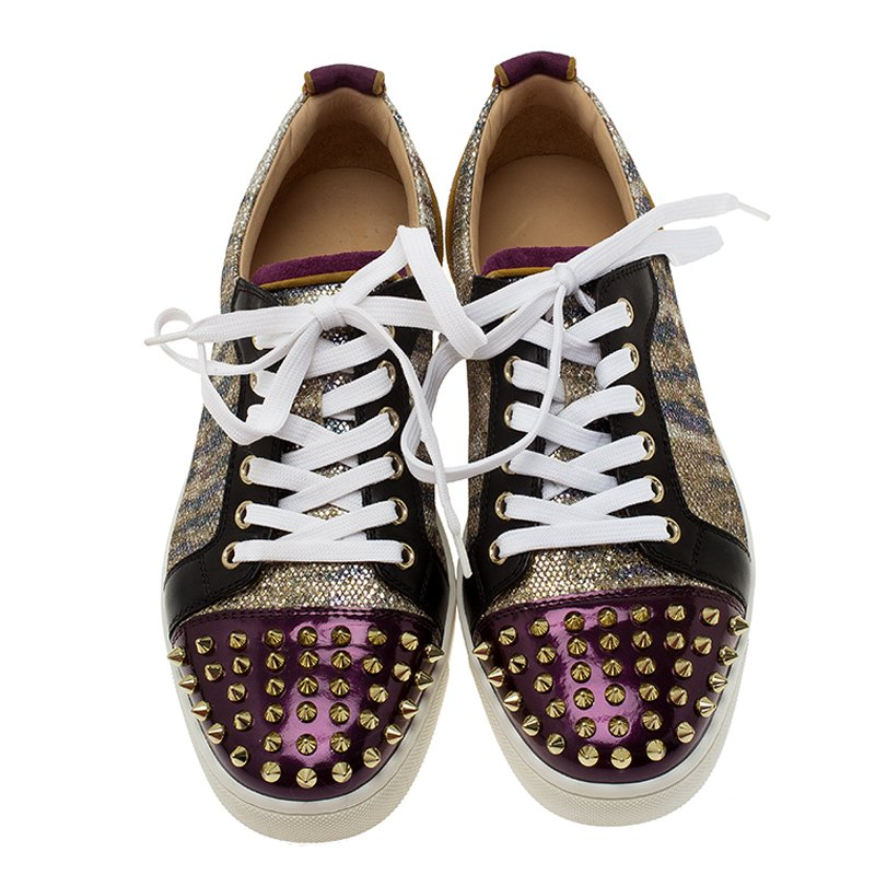 new concept 72102 3753d Christian Louboutin Purple Metallic Leather Spiked Louis Junior Sneakers  Size 39
