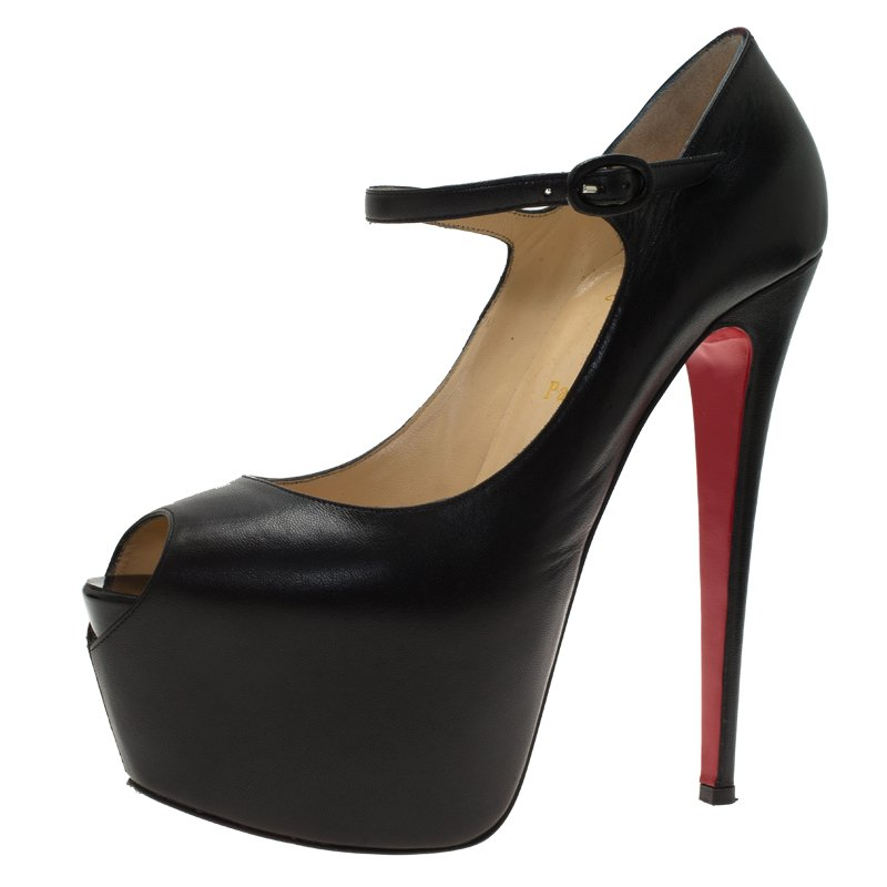 size 40 8a771 5a1cb Christian Louboutin Black Leather Lady Highness Mary Jane Platform Pumps  Size 40