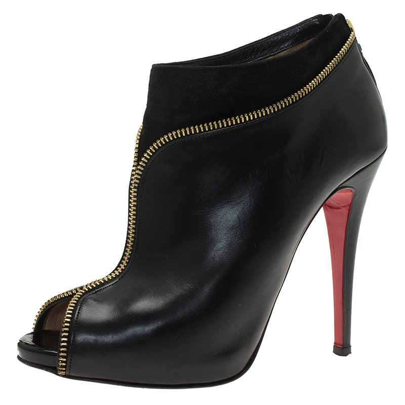 31ae460572 ... Christian Louboutin Black Leather and Suede Col Zippe Ankle Boots Size  39. nextprev. prevnext
