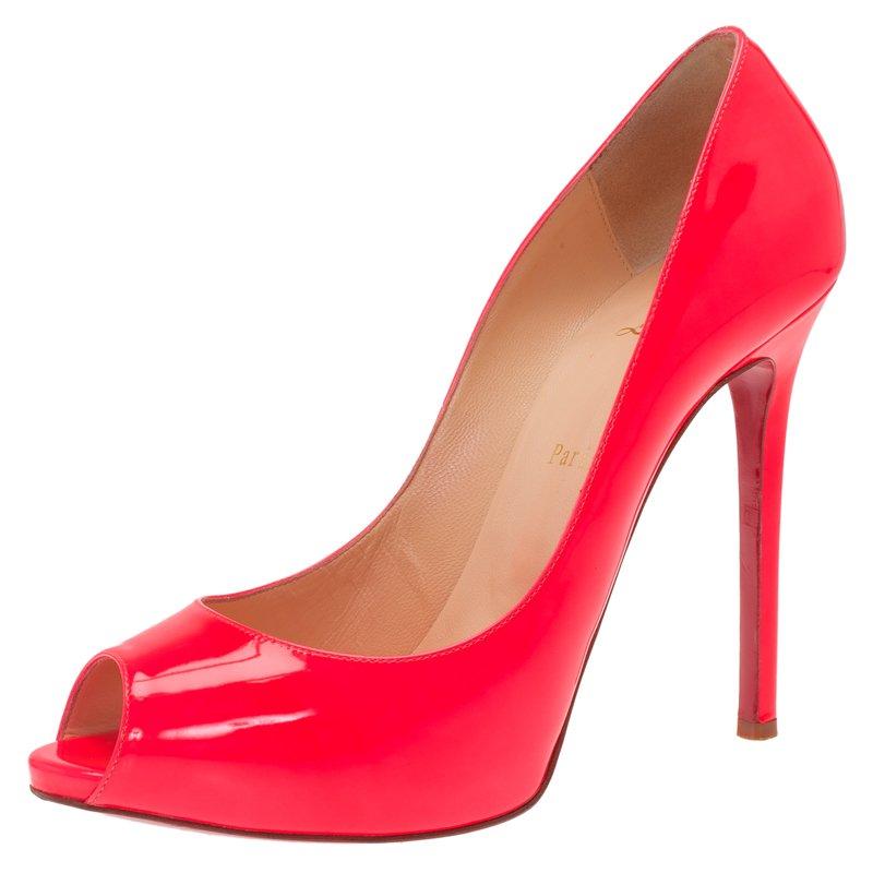 c9aeb868b9f2 ... Christian Louboutin Neon Pink Patent Flo Peep Toe Pumps Size 40.5.  nextprev. prevnext