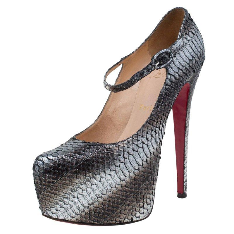 ea8090c13f78 Buy Christian Louboutin Grey Metallic Python Lady Daf Mary Jane ...
