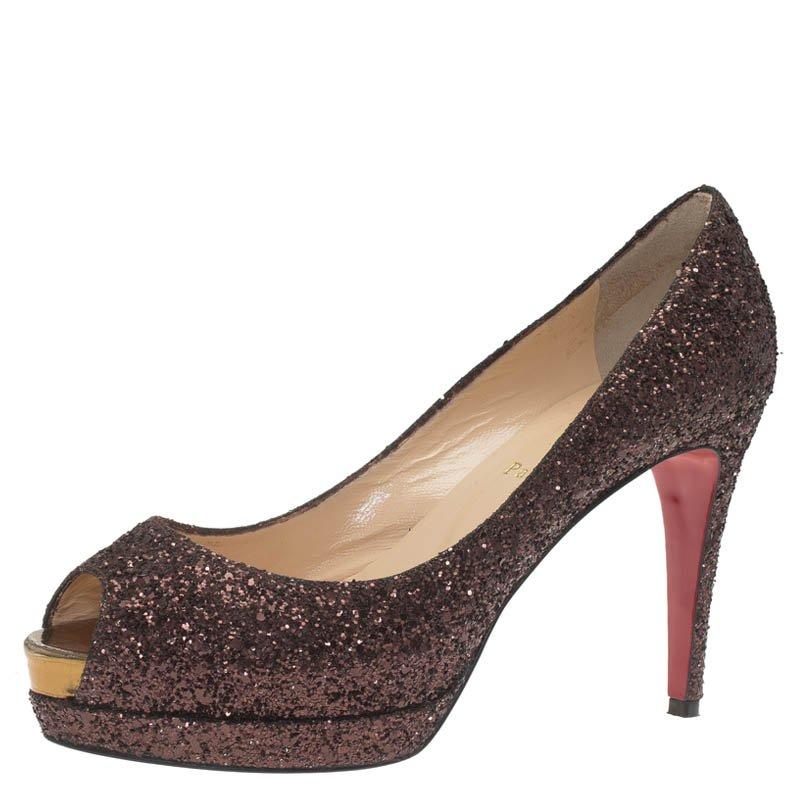 a36e33e013e ... Christian Louboutin Brown Glitter Altadama Peep Toe Platform Pumps Size  39. nextprev. prevnext