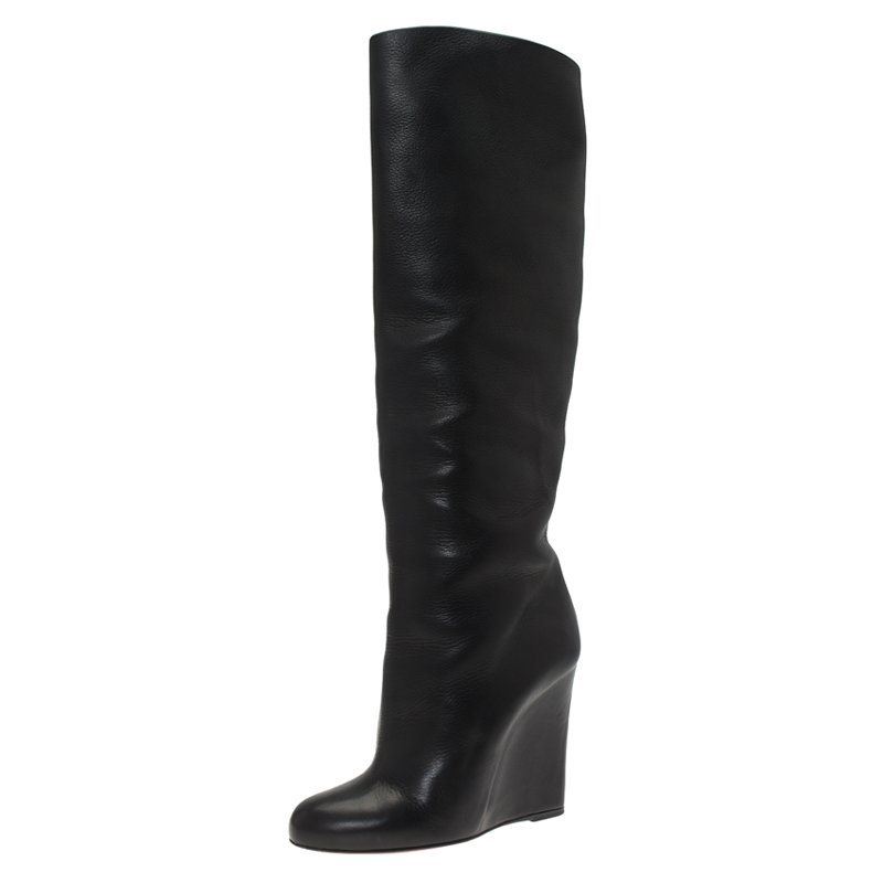 los angeles 4a6b3 54621 Christian Louboutin Black Leather Zepita Wedge Knee Boots Size 40