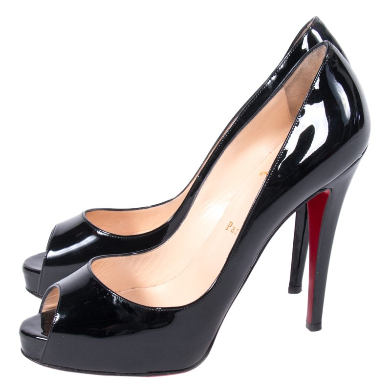 the latest 94d69 5e7a2 Christian Louboutin Black Patent Very Prive Peep Toe Pumps Size 39.5