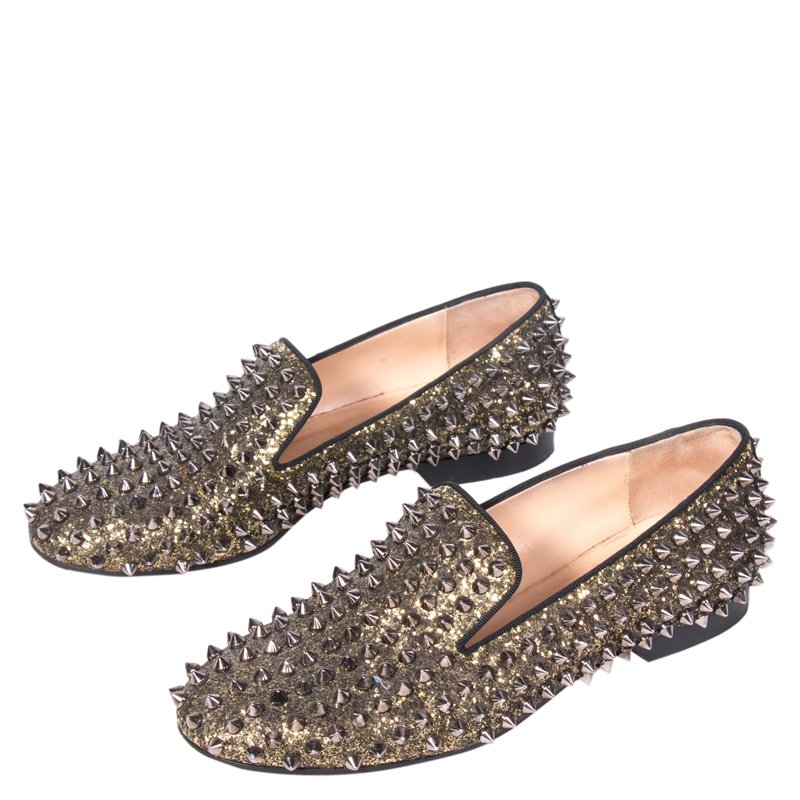 Buy Christian Louboutin Gold Glitter Rolling Spikes Smoking Slippers ...