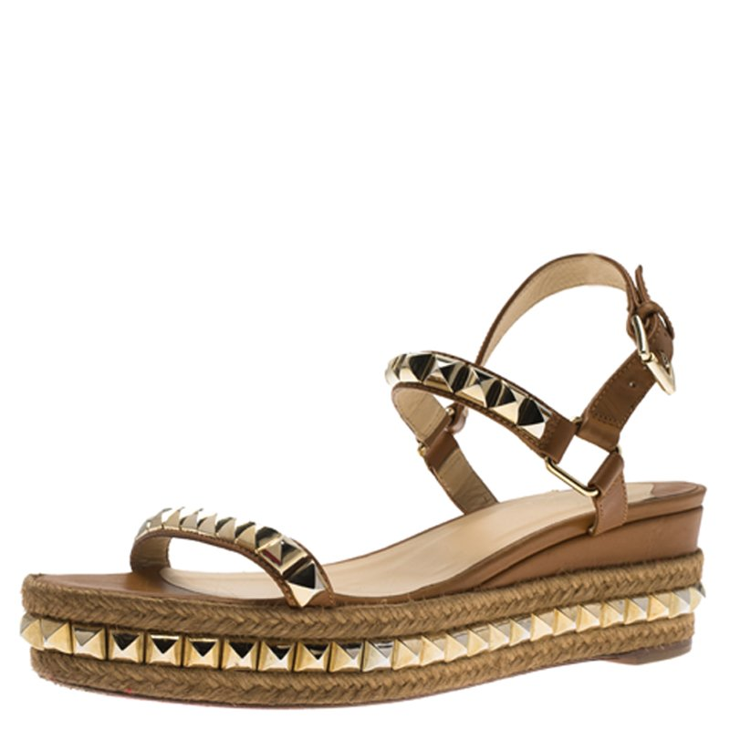 finest selection e0dd2 60c5e Christian Louboutin Brown Studded Leather Cataclou Espadrille Wedge Sandals  Size 40