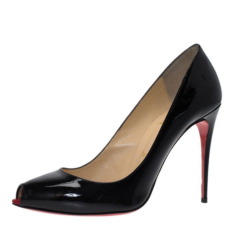 24d24f9f6fb6 ... Christian Louboutin Black Patent Tibur Peep Toe Pumps Size 39.  nextprev. prevnext