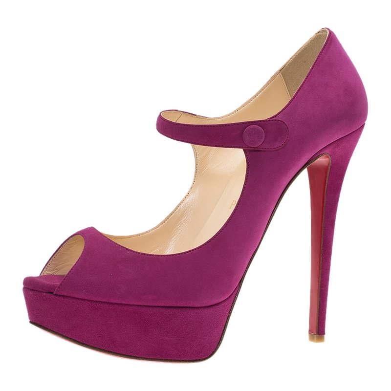 Christian Louboutin Pink Suede Bana Mary Jane Platform Pumps Size 38 5