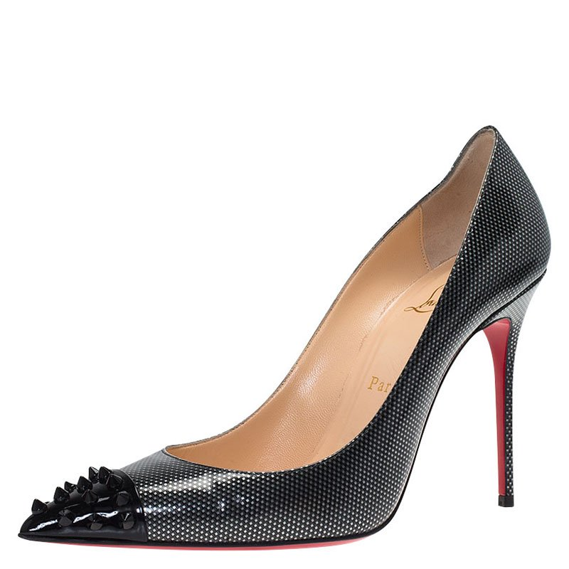 finest selection f7f8c 024f3 Christian Louboutin Metallic Leather Geo Spiked Pumps Size 39.5