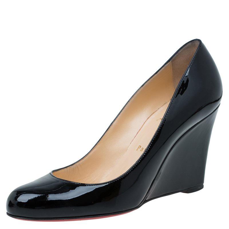 best loved 5c669 89991 Christian Louboutin Black Patent RonRon Zeppa Wedge Pumps Size 38.5